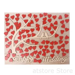 Coração personalizado em forma de árvore de madeira Guestbook de casamento pendurado decoração Message Board