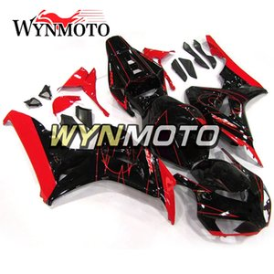 Honda CBR1000RR 2006 2007 CBR 1000RR 06 07 Komple Fairing Kitini Özelleştirme Kırmızı Stripes ile Enjeksiyon ABS Plastik Motosiklet Panelleri Siyah