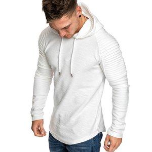 GustOmerD Novo Hoodies do Homem de Cor Sólida Slim Fit High Street Moletom Com Capuz Stripe Dobre Sportswear Mens