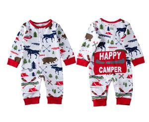 크리스마스 아기 여자 보이 의류 잠옷 의상 신생아 키즈 바디 수트 스트라이프 뛰어 돌아 다니는 곰 사슴 겨울 도매 크리스마스 아기 옷 0-18M