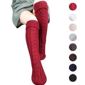 8 Colores tejiendo las mujeres calcetines largos de las mujeres de lana sobre la rodilla muslo alto almacenaje cálido pantimedias medias calentadores de pierna calcetines de la moda 2pcs / par ffa952