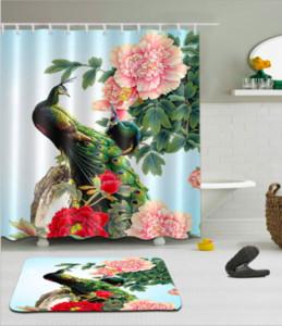 Bella 3D Peacock Tende da doccia Poliestere impermeabile Bagno Doccia Cortina Tenda da bagno con ganci Set tappetini