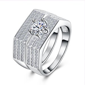 Stunning Wide Cluster Engagement Wedding Ring and Band Bridal Set