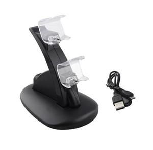 Caricabatterie Dual Controller LED ALLOYSEED + Cavo di ricarica Micro USB Base di ricarica Dock Station per Sony Playstation 4 PS4