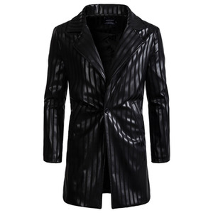 AOWOFS 2018 Long Leather Blazer Men Black Jacket Jacket Inghilterra Style Blazer Masculino Casual Striped PU Leather Overcoat Autunno