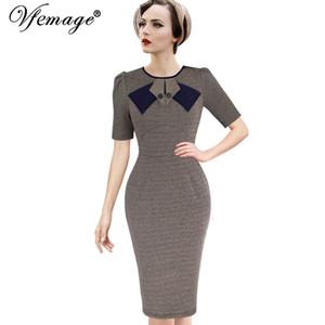Vfemage женщин элегантный 1950-х годов старинные Pinup ретро рокабилли лоскутное с длинным рукавом работы партии оболочка Bodycon покачиваться платье 8167 Y1891001