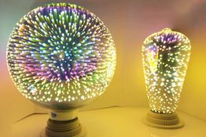 ST64 G80 G95 5W Fireworks Bulb LED Lámpara de filamento E27 Color decorativo 3D Edison Bombilla para la decoración de la casa de vacaciones Llfa