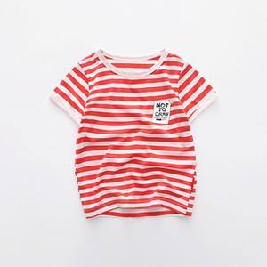 Summer Boys Lenzing Modal Essentials T-shirt à rayures à manches courtes à manches courtes et col rond 8 couleurs 90-120cm Sweat à capuche pour enfants