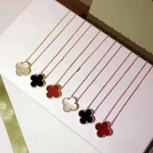 Vendita calda gioielli fiore di trifoglio a quattro foglie collana per donna collana pendente verde nero rosso madreperla trifoglio