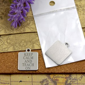 """40pcs--""""KEEP CALM AND TEACH ON""""stainless steel charms more style for choosing DIY Charms pendants for necklace"""