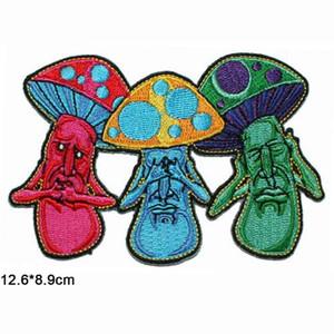 Mushroom No Evil Hippie Death Grim Cosechadores Comercio al por mayor en ropa de tela bordada Parche para la ropa Niñas
