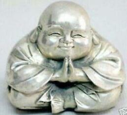 Feliz estátuas de Buda de Prata Do Vintage velho cobre atacado Barato estátua de prata Tibetano Decoração 100% real de Bronze Tibetano Prata