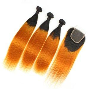 8A Ombre Orange Indian Hair 3 Bundles con cierre de encaje de dos tonos 1B Orange Ombre Straight Human Weaves con cierre superior