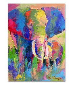 Alta calidad pintado a mano HD impresión colorido abstracto Animal Art pintura al óleo africano fresco elefante en lienzo opciones de marco A185