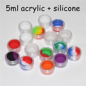 Akrilik balmumu konsantre kaplar, Yapışmayan silikon Dab BHO karma yağ kuru ot depo kapları akrilik silikon kavanoz açık 5ml
