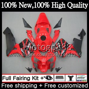 Комплект для впрыска Красный черный + бак для HONDA CBR 600RR 03 CBR600 RR 2003 2004 58PG3 CBR600RR CBR 600 RR 600F5 CBR600 F5 03 04 Обтекатель кузова
