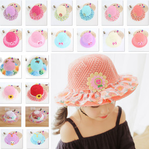 Summer Beach Pools Visor Cappelli per bambini Ragazze Baby Lace Brim Snaback Hat Cap Bambini Princess Straw Basin Sun Caps 40 Styles WX9-615