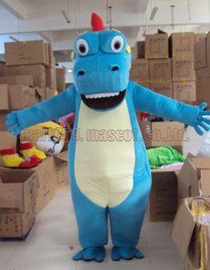 Blue dinosaur mascot costume Frete grátis tamanho adulto, mascote dinossauro legal luxo festa de carnaval de brinquedo de pelúcia comemora vendas de fábrica de mascote.