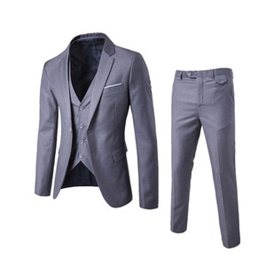 2018 Men's Fashion Slim Suits Men's Business Casual Clothing Groomsman Three-piece Suit Blazers Jacket Pants Trousers Vest Sets