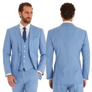 DHL Free Custom Made Men Suits Azul claro Casual Fashion Slim Fit Padrinos de boda Smokings Trajes de boda novio guapo mejor hombre Jacket + Pants + Vest