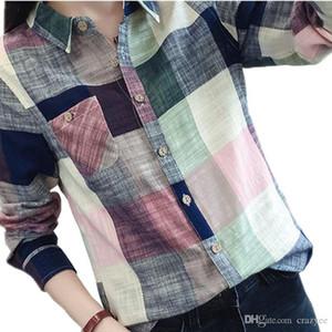 Women Plaid Blouse And Shirt Ladies Female Casual Cotton Long Sleeve Plaid Shirt Plus Size Chemise Femme Tops Blusas