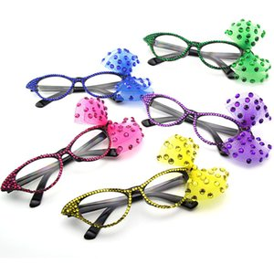 Bowknot Decorative Cat Eye Framed Party Eyewear Costume Party Mask Plain Glasses Dancing Party Props for Girl Gift