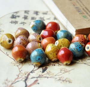 50 pcs 15mm*13mm , hole size about 2.5mm Porcelain Beads,mixed color,ceramic DIY loose beads jewelry finding
