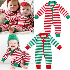 2018 natale baby girl vestiti pagliaccetto bambini one pezzi Tute Pigiama 0-18 M bambino neonato vestiti a strisce bambino Pagliaccetti costumi