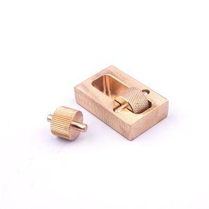 Handmade leather tools mini brass edge painting roll box