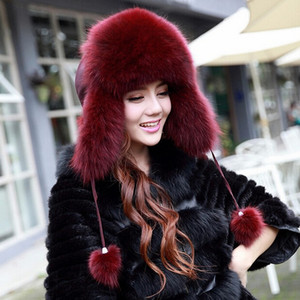 Wholesale- Hot sale winter hats for women 100/% real  fur hat caps women genuine  fur hats ear protection cap fur bomber hat