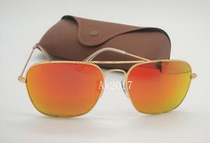 Flash Woemsn Fashion Rectangle Caravan Frame Case Mens Sunglasses Glasses Brown Sun Orange Mirror Lenses 58MM Glass Gold With Plfcn