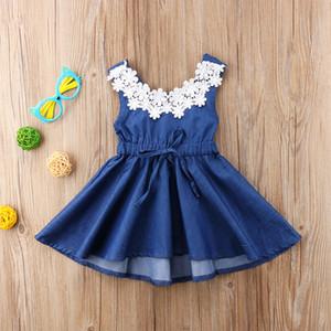 2018 Neue Mädchen Kleider Kinder Kleidung Baby Mädchen Sommer Spitze Blume Denim Kleid Prinzessin Party Pageant Baby Kleid Kinder Sleeveless