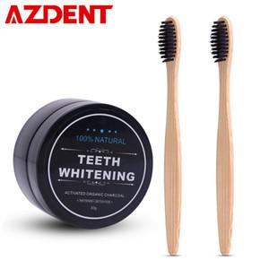Azdent Teeth Whitening Powder Set 2 pezzi di bambù spazzolino da denti di carbone dentifricio sbiancamento dei denti in polvere spazzolino da denti igiene orale