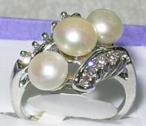 livraison gratuite bijoux de mode blanc perle bague taille 7/8/9/10