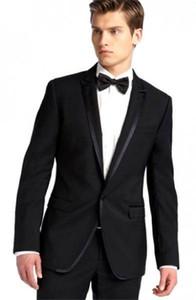High Quality One Button Black Groom Tuxedos Groomsmen Peak Lapel Best Man Blazer Mens Wedding Suits (Jacket+Pants+Tie) H:764