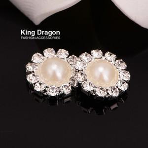 Bottone perla strass usato su Flower Center o fascia posteriore piatta 10mm 20pcs / lotto colore argento KD20