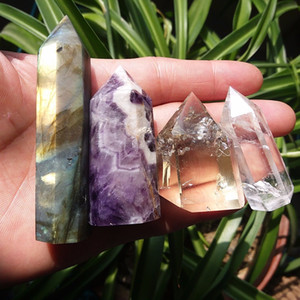 4 piezas natural Citrine + Dream Amethyst + Clear + Labradorite QUARTZ CRYSTAL WAND POINT HEALING gemstone puntos CRISTAL