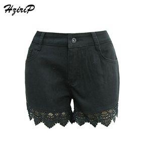 HziriP 2017 Nueva Llegada Denim Casual Corto Verano Verano de Las Mujeres Botón de Encaje Negro Loose Vintage Sexy Jeans de Cintura Alta Señora femenina