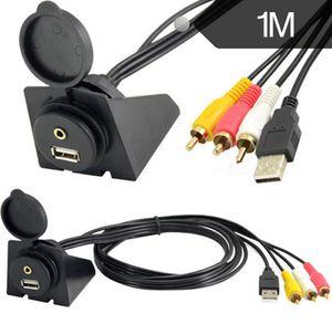 1m 2m 3.5mm / RCA Cable de extensión USB AudioVideo Juego de montaje empotrado para tablero de instrumentos del automóvil 3RCA
