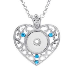 Hot NOOSA Ciondolo in metallo con zenzero con bottone a pressione a forma di cuore Collana con pendenti in cristallo con bottoni Noosa Collane 3 colori