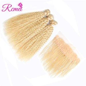 Rcmei Peruvian Huamn Hair Bundles Avec 13 * 4 Dentelle Frontal 613 Cheveux Blonds Tissant 3 Bundles 10-30 Pouces