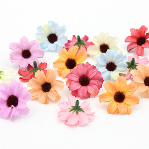 Flor de seda Margaritas Cabezas de flores de girasol Ramo Decoración Hogar Boda Jardín Adornos Diy Craft Supplies Artificial 10pcs / Lot