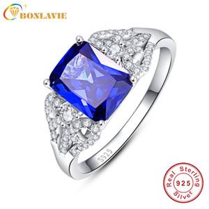 Kadınlar için 3 s Mavi Tanzanit Alyans Zümrüt Kesim 925 Gümüş Safir Yüzük ölçüsü 6.7.8.9