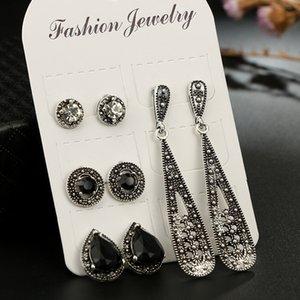 8 Unids / set Bohemia Retro Moda Opalo Exagerado Pendientes Redondos Gemstone Gemstone Ear Studs Set Accesorios de Boda de Las Mujeres