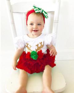 Girls Christmas Set Baby Girl Flying Sleeve sequin Christmas deer Romper set + Red Mesh tutu Skirt 2pcs Set baby girl deer Outfits
