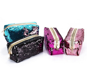 2018 new hand zipper cosmetic bag fashion mermaid sequin bag student sequin pencil case ladies coin purse