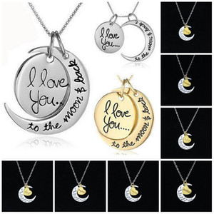 Collar de cadena de oro Corazón Joyería coreana Barato Te amo hasta la luna y la espalda Collar de plata mujeres hombres Te amo luna Conciso Collares