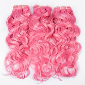 분홍색 습식 및 물결 모양 인간 머리카락 3 묶음 거래 #Pink 인간의 머리카락 분홍색 물결 웨이브 브라질 버진 사람의 머리카락 확장 빠른 배송