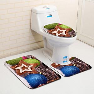 Экологичные рождественские коврики для ванной Коврики и коврики для ванной комнаты Украшение для туалета Super Soft Suede Non - Slip Floor Mat
