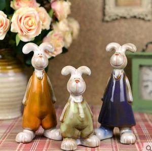3 pz Bugs Bunny famiglia ceramica bianco coniglio artigianato arredamento casa decorazione della stanza artigianato ornamento porcellana figurine di animali